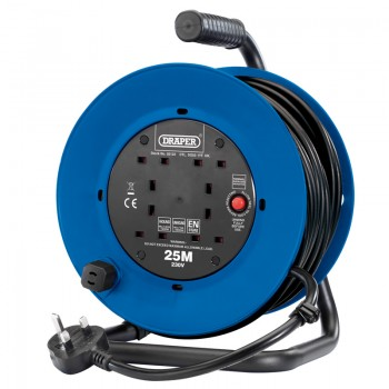 230V Heavy Duty Industrial Four Socket Cable Reel (25M)