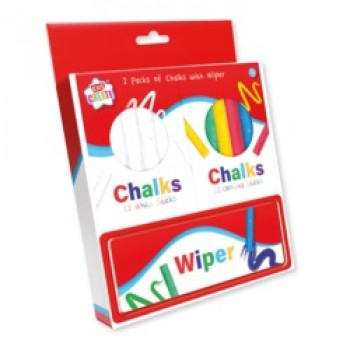 2 Packs Of Chalks And Wiper - 12 White, 12 Colours