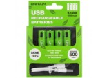 USB Rechargeable AA Batteries - Pack 4