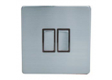 10A, 2 Gang, 2 Way Switch - Stainless Satin Steel With Black Inserts