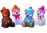 15cm 4 assorted Battery operated lit acrylic bear