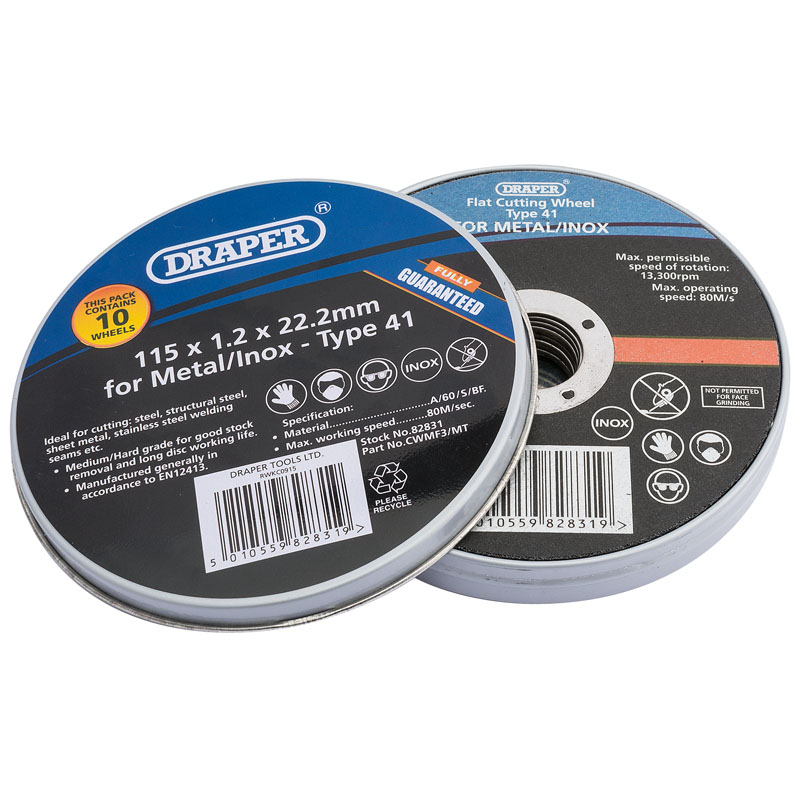 115 x 22.2 x 1.2mm Flat Metal Cutting Wheels (Tin of 10) – Now Only £6.71