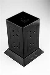 1.5m 8gang + 2 USB Extension Tower Surge Protected Black – Now Only £22.00