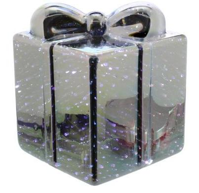 12cm Battery operated Mercury effect glass parcel – Now Only £8.00