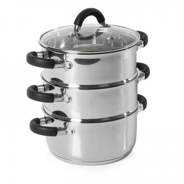 Essentials 18cm 3 Tier Steamer Stainless Steel – Now Only £24.00