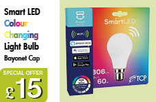 LED TCP SMART 10w BC GLS (810lm) 60w RGBW  – Now Only £15.00