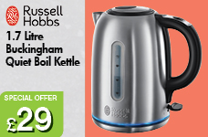 Buckingham Brushed Stainless Steel Quiet Boil Kettle 1.7L – Now Only £29.00