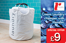 Handled Laundry hamper Cream 600D Poly – Now Only £9.00