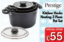 Kitchen Hacks Nesting 3 Piece Pot Set – Now Only £55.00