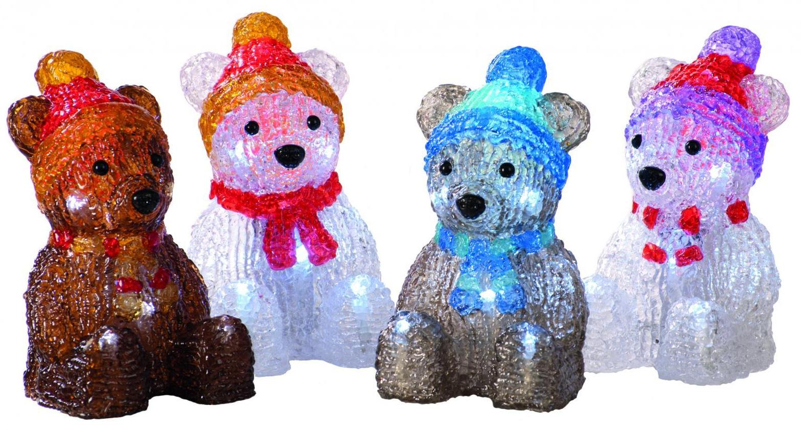 15cm 4 assorted Battery operated lit acrylic bear  – Now Only £8.00