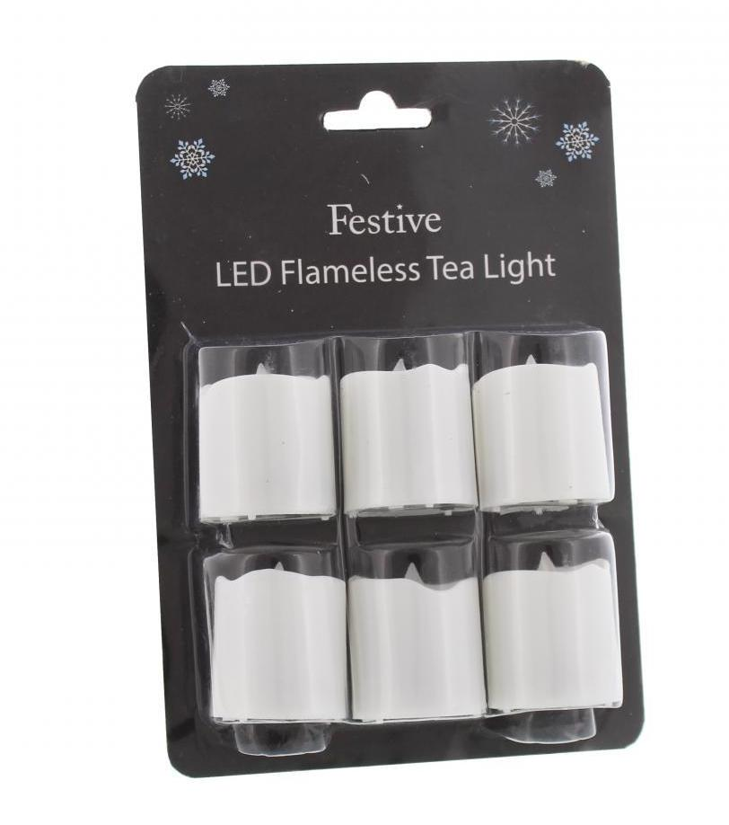 4.2cm Set of 6 White battery tealights – Now Only £4.00