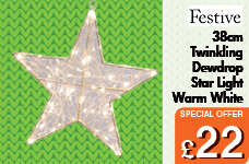 38cm Twinkling Dewdrop star light- Warm white  – Now Only £22.00