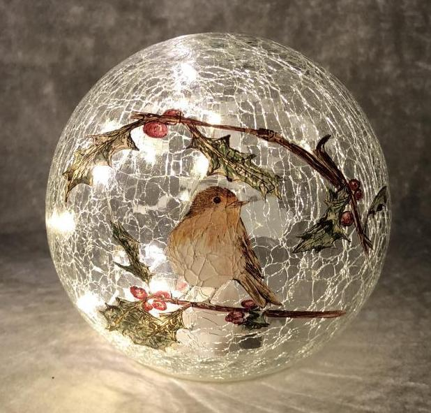 15cm Battery operated lit crackle effect Robin ball – Now Only £10.00