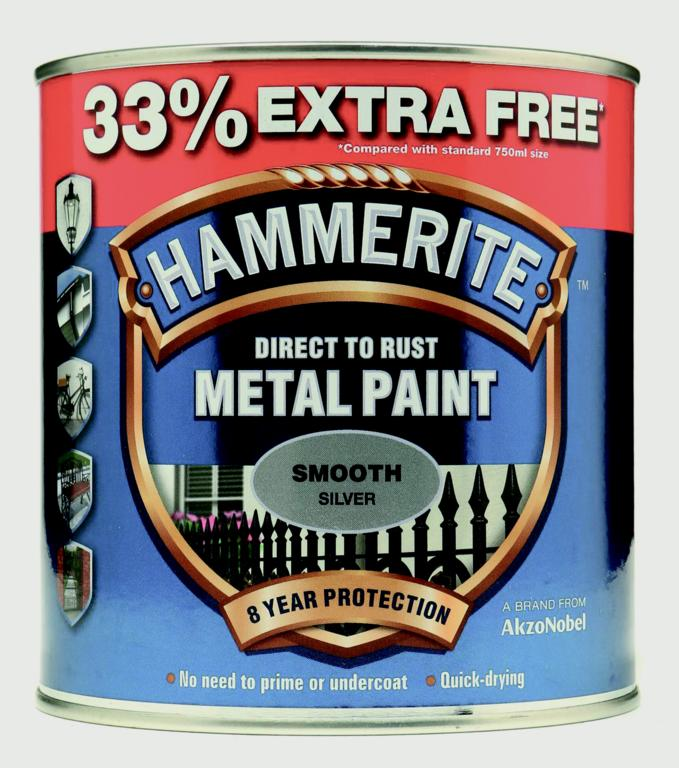 Metal Paint Smooth 750ml + 33% Free - Black/Silver - Silver – Now Only £17.00