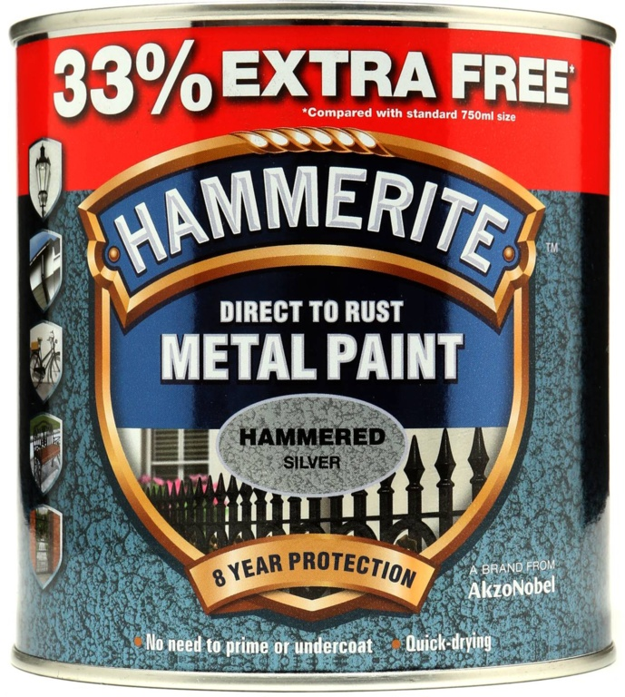 Metal Paint Hammered 750ml + 33% Free - Black - Silver – Now Only £17.00