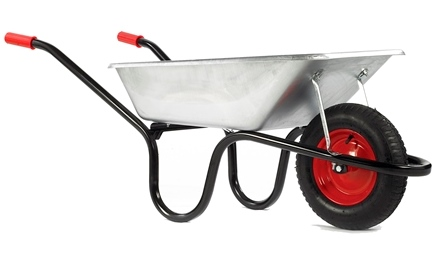 85 Litre Camden Classic Galvanised Pneumatic Barrow - Silver – Now Only £39.00